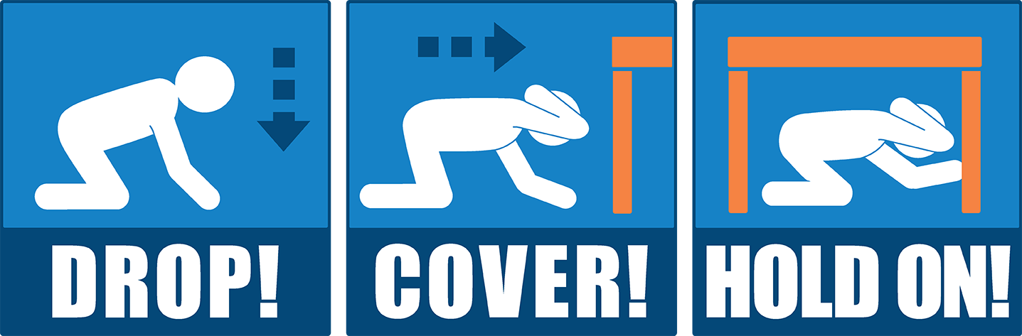 Practice Drop, Cover and Hold On. If an earthquake happened tomorrow, would you know what to do to protect yourself